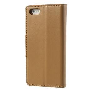 Peněženkové koženkové pouzdro na iPhone 5s a iPhone 5 - coffee - 2