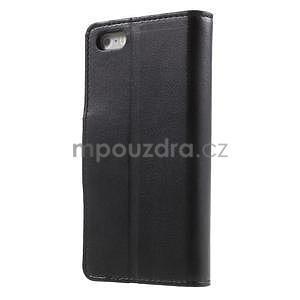 Peněženkové koženkové pouzdro na iPhone 5 a iPhone 5s - černé - 2