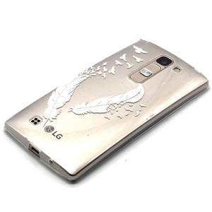 Průhledný gelový obal na LG G4c - ptačí pírka - 2
