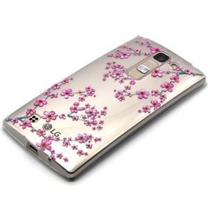 Průhledný gelový obal na LG G4c - švestkové květy - 2