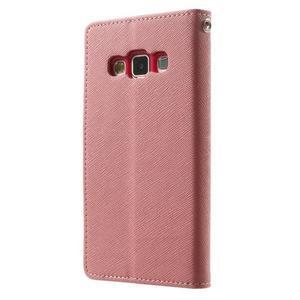 Diary PU kožené pouzdro na Samsung Galaxy A3 - růžové - 2