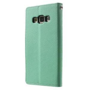 Diary PU kožené pouzdro na Samsung Galaxy A3 - cyan - 2