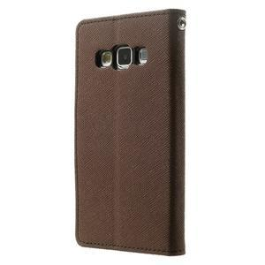 Diary PU kožené pouzdro na Samsung Galaxy A3 - hnědé - 2