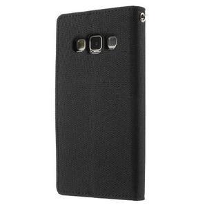 Luxury textilní/koženkové pouzdro na Samsung Galaxy A3 - černé - 2