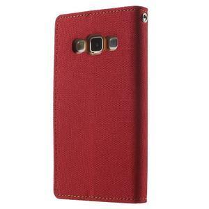 Luxury textilní/koženkové pouzdro na Samsung Galaxy A3 - červené - 2