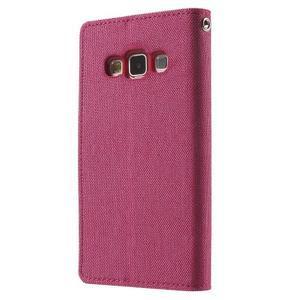 Luxury textilní/koženkové pouzdro na Samsung Galaxy A3 - rose - 2