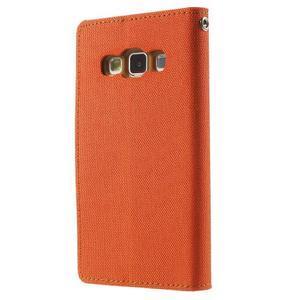 Luxury textilní/koženkové pouzdro na Samsung Galaxy A3 - oranžové - 2
