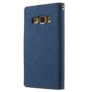Luxury textilní/koženkové pouzdro na Samsung Galaxy A3 - modré - 2