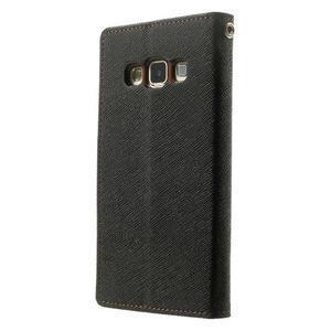 Diary PU kožené pouzdro na Samsung Galaxy A3 - černé/hnědé - 2