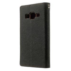 Fancy PU kožené pouzdro na Samsung Galaxy Core Prime - černé/hnědé - 2