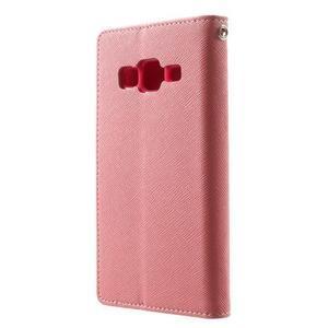 Fancy PU kožené pouzdro na Samsung Galaxy Core Prime - růžové - 2