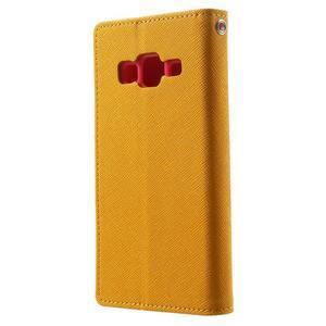 Fancy PU kožené pouzdro na Samsung Galaxy Core Prime - žluté - 2