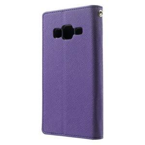 Fancy PU kožené pouzdro na Samsung Galaxy Core Prime - fialové - 2