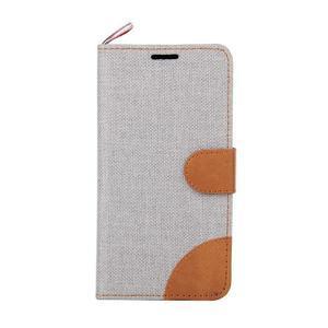 Jeans textilní/koženkové pouzdro na Samsung Galaxy Core Prime - šedé - 2