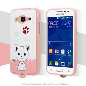 Kočička Domi obal na mobil Samsung Galaxy Core Prime - bílý - 2