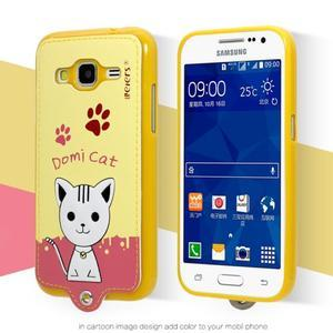 Kočička Domi obal na mobil Samsung Galaxy Core Prime - žlutý - 2