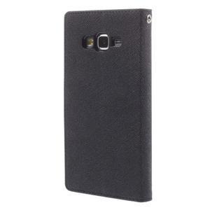 Diary PU kožené pouzdro na mobil Samsung Galaxy Grand Prime - černé - 2