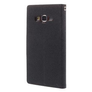 Diary PU kožené pouzdro na mobil Samsung Galaxy Grand Prime - čené/hnědé - 2