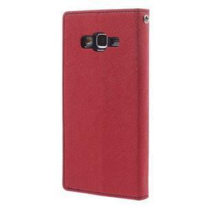 Diary PU kožené pouzdro na mobil Samsung Galaxy Grand Prime - červené - 2