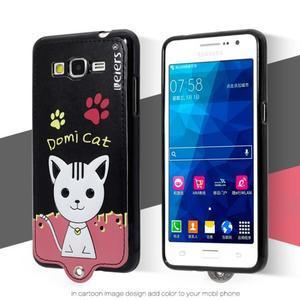 Kočička Domi s PU koženými zády na Samsung Galaxy Grand Prime - černý - 2