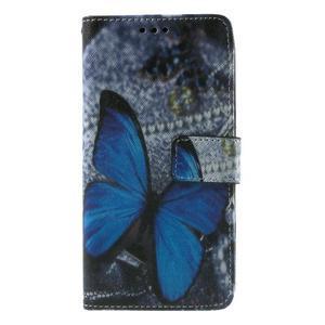 Wallet PU kožené pouzdro na mobil Samsung Galaxy Grand Prime - modrý motýl - 2