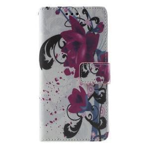 Wallet PU kožené pouzdro na mobil Samsung Galaxy Grand Prime - květy - 2
