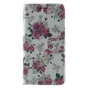 Wallet PU kožené pouzdro na mobil Samsung Galaxy Grand Prime - květiny - 2