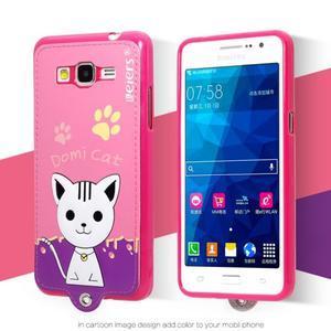 Kočička Domi s PU koženými zády na Samsung Galaxy Grand Prime - rose - 2