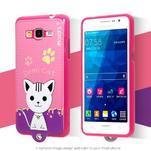 Kočička Domi s PU koženými zády na Samsung Galaxy Grand Prime - rose - 2/2