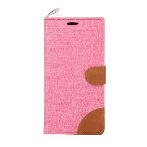 Jeans koženkové/textilní pouzdro pro Samsung Galaxy Grand Prime - růžové - 2