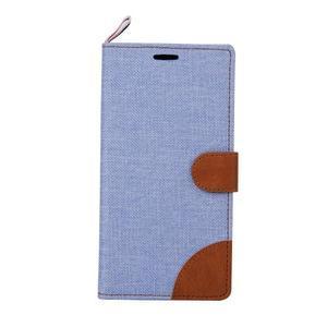 Jeans koženkové/textilní pouzdro pro Samsung Galaxy Grand Prime - světlemodré - 2