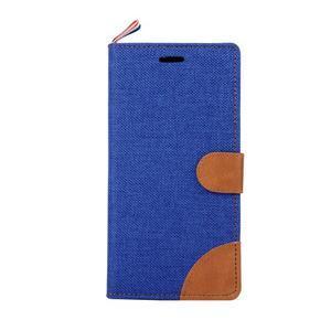 Jeans koženkové/textilní pouzdro pro Samsung Galaxy Grand Prime - modré - 2