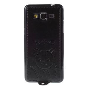 Kočička Domi kryt s PU koženými zády pro Samsung Galaxy Grand Prime - černý - 2