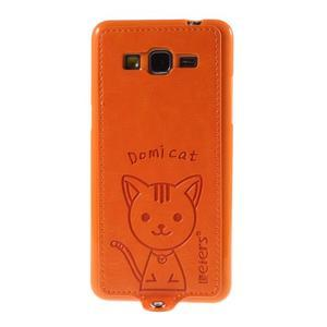 Kočička Domi kryt s PU koženými zády pro Samsung Galaxy Grand Prime - oranžový - 2