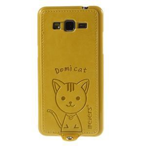 Kočička Domi kryt s PU koženými zády pro Samsung Galaxy Grand Prime - žlutý - 2