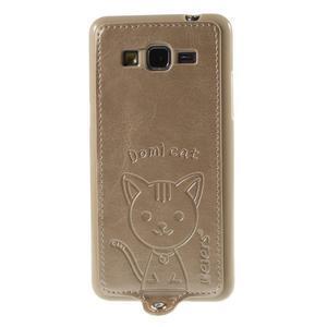 Kočička Domi kryt s PU koženými zády pro Samsung Galaxy Grand Prime - zlatý - 2