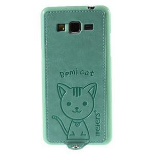 Kočička Domi kryt s PU koženými zády pro Samsung Galaxy Grand Prime - cyan - 2