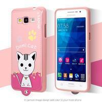 Kočička Domi s PU koženými zády na Samsung Galaxy Grand Prime - růžový - 2/2
