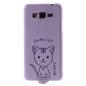 Kočička Domi kryt s PU koženými zády pro Samsung Galaxy Grand Prime - fialový - 2