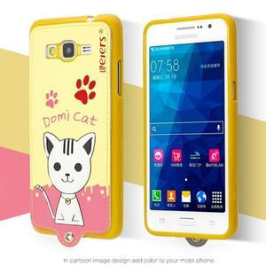 Kočička Domi s PU koženými zády na Samsung Galaxy Grand Prime - žlutý - 2