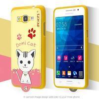 Kočička Domi s PU koženými zády na Samsung Galaxy Grand Prime - žlutý - 2/2