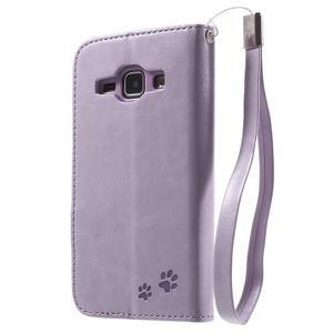 Koženkové pouzdro s kočičkou Domi na Samsung Galaxy J1 - fialové - 2