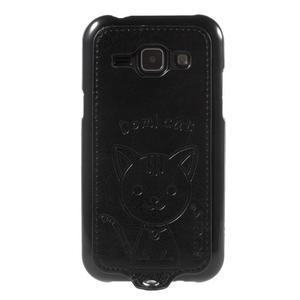 Obal s koženkovými zády a kočičkou Domi pro Samsung Galaxy J1 - černý - 2