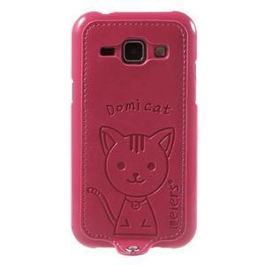 Obal s koženkovými zády a kočičkou Domi pro Samsung Galaxy J1 - magneta - 2