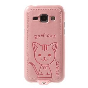 Obal s koženkovými zády a kočičkou Domi pro Samsung Galaxy J1 - růžový - 2