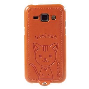 Obal s koženkovými zády a kočičkou Domi pro Samsung Galaxy J1 - oranžový - 2
