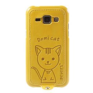 Obal s koženkovými zády a kočičkou Domi pro Samsung Galaxy J1 - žlutý - 2