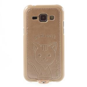 Obal s koženkovými zády a kočičkou Domi pro Samsung Galaxy J1 - zlatý - 2