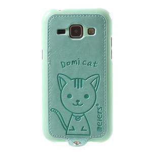 Obal s koženkovými zády a kočičkou Domi pro Samsung Galaxy J1 - azurový - 2