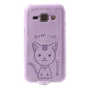 Obal s koženkovými zády a kočičkou Domi pro Samsung Galaxy J1 - fialový - 2